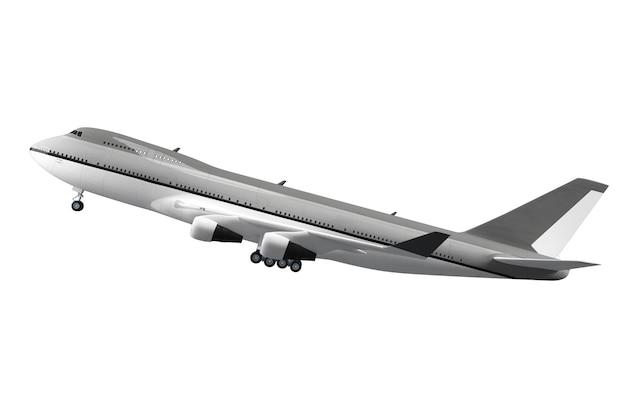 Groot passagiersvliegtuig dat op wit oppervlak wordt geïsoleerd