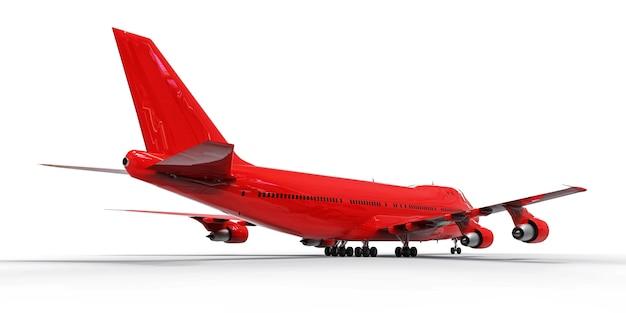 Groot passagiersvliegtuig met grote capaciteit voor lange transatlantische vluchten. rood vliegtuig op wit geïsoleerde oppervlakte