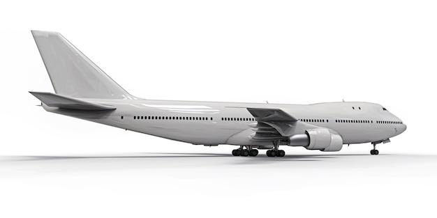 Groot passagiersvliegtuig met grote capaciteit voor lange transatlantische vluchten. wit vliegtuig op wit geïsoleerde achtergrond
