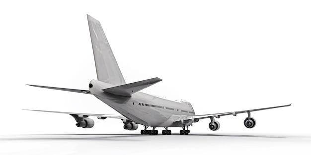 Groot passagiersvliegtuig met grote capaciteit voor lange transatlantische vluchten. wit vliegtuig op wit geïsoleerde oppervlakte