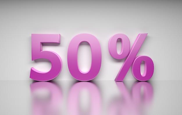Groot roze percentagegetal 50 percenten die zich op witte weerspiegelende oppervlakte bevinden.