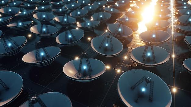 Groot technologisch oppervlak bedekt met microschakelingen en satellietschotels. informatieoverdracht concept. 3d-afbeelding