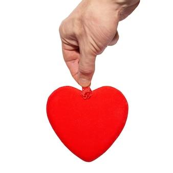 Groot valentijnskaarthart in een hand.