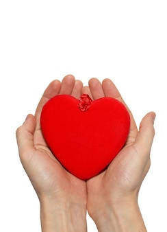 Groot valentijnskaarthart in handen.