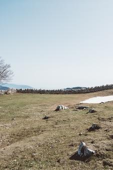 Groothoek opname van rotsbouwers in een groen veld onder een heldere hemel
