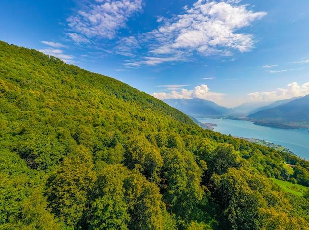 Groothoek panorama van het comomeer met bergen van de alpen en bomen op de voorgrond. reizen briefkaart concept