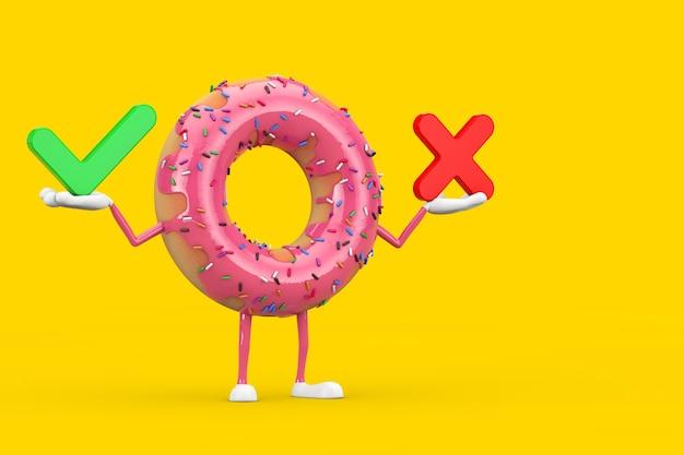 Grote aardbei roze geglazuurde donut karakter mascotte met rode kruis en groen vinkje, bevestigen of ontkennen, ja of nee pictogram teken op een gele achtergrond. 3d-rendering