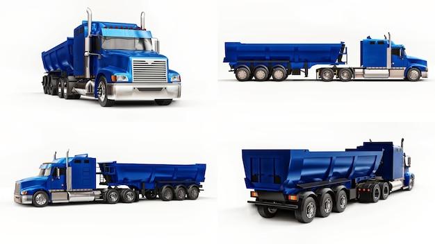 Grote amerikaanse vrachtwagen met een dumper van het trailertype voor het vervoer van bulklading op witte achtergrond
