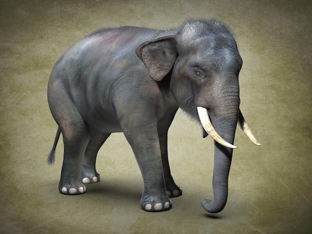 Grote aziatische olifant. 3d illustratie
