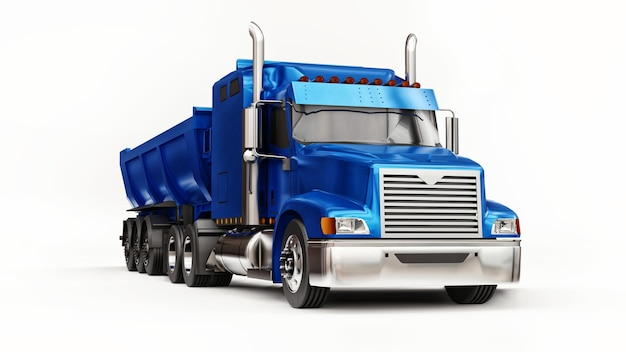 Grote blauwe amerikaanse vrachtwagen met een kiepwagen van het aanhangertype voor het vervoer van bulklading