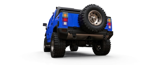 Grote blauwe off-road pick-up voor platteland of expedities op witte geïsoleerde achtergrond. 3d illustratie.