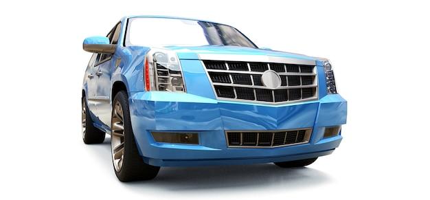 Grote blauwe premium suv op een witte achtergrond. 3d-rendering.