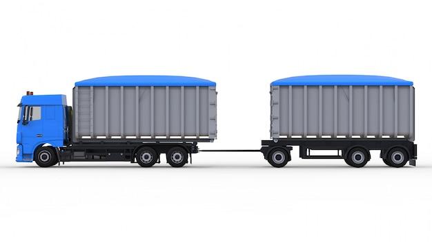 Grote blauwe vrachtwagen met aparte aanhangwagen