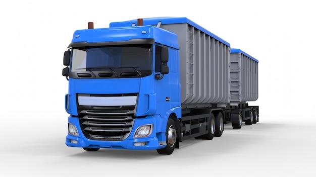 Grote blauwe vrachtwagen met aparte trailer, voor transport van agrarische en bouwmassa en producten. 3d-weergave.