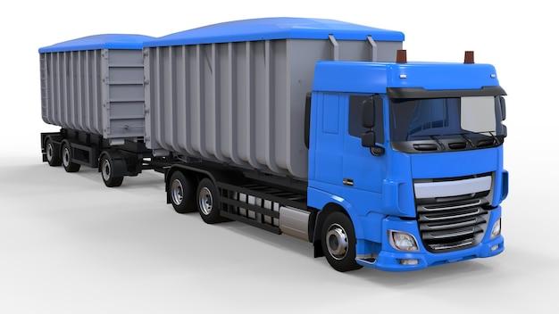 Grote blauwe vrachtwagen met losse oplegger, voor transport van landbouw- en bouwstortgoederen en producten. 3d-weergave.