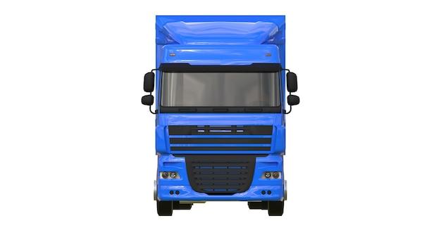Grote blauwe vrachtwagen met oplegger. sjabloon voor het plaatsen van afbeeldingen. 3d-weergave.