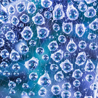 Grote druppels water na regen op het web close-up op een blauwe achtergrond