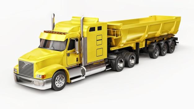Grote gele amerikaanse vrachtwagen met een dumptruck van het trailertype voor het vervoer van bulklading op een witte achtergrond. 3d illustratie.