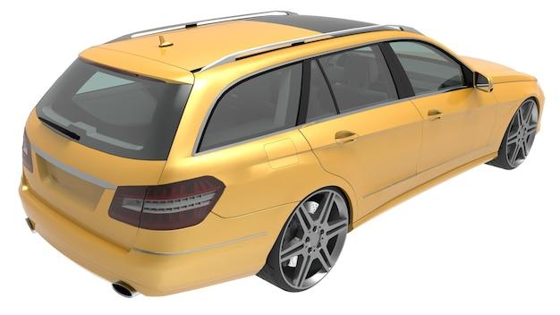 Grote gele familiebedrijf auto 3d-rendering