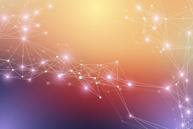 Grote genomische gegevensvisualisatie. dna-helix, dna-streng, dna-test. molecuul of atoom, neuronen. abstracte structuur voor wetenschap of medische achtergrond, banner, illustratie.