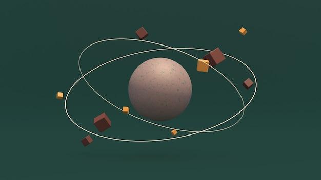 Grote geweven bol en ronddraaiende kubussen. groene achtergrond. de abstracte 3d illustratie, geeft terug.