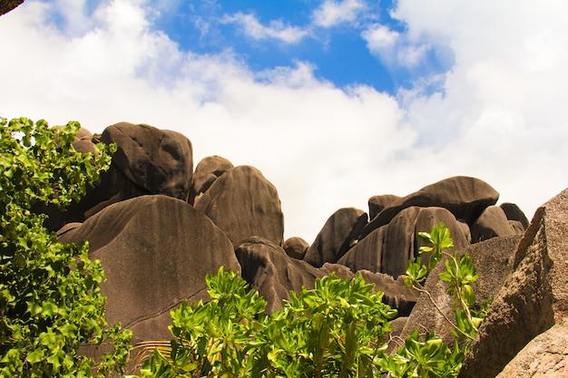 Grote gladde monumentale rotsblokken op de seychellen