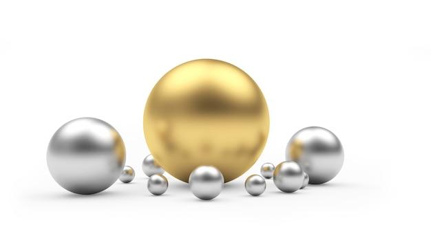 Grote gouden bal en zilveren bollen 3d