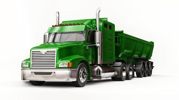 Grote groene amerikaanse vrachtwagen met een dumper van het trailertype voor het vervoer van bulklading op een witte achtergrond. 3d illustratie.