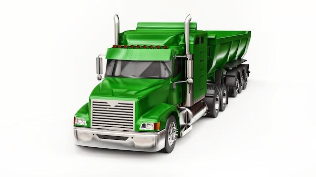 Grote groene amerikaanse vrachtwagen met een dumptruck van het trailertype voor het vervoer van bulklading