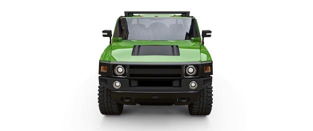 Grote groene offroad-pick-up voor platteland of expedities op witte geïsoleerde achtergrond
