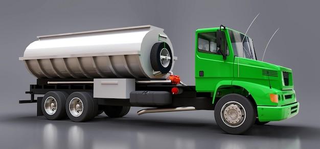 Grote groene tankwagen met een gepolijste metalen aanhanger. uitzicht van alle kanten. 3d illustratie.