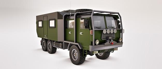 Grote groene vrachtwagen voorbereid op lange en uitdagende expedities in afgelegen gebieden. vrachtwagen met een huis op wielen. 3d illustratie.