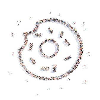 Grote groep mensen in de vorm van een doughnut geïsoleerde witte achtergrond
