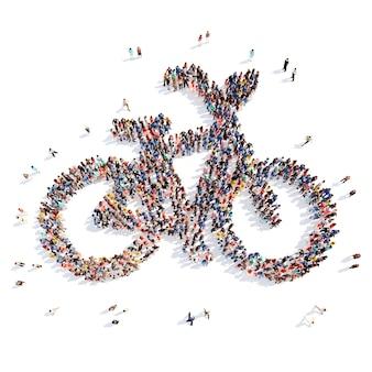 Grote groep mensen in de vorm van een fiets. geïsoleerde, witte achtergrond.