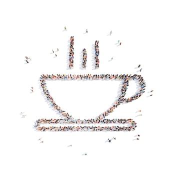 Grote groep mensen in de vorm van een kopje koffie geïsoleerde witte achtergrond