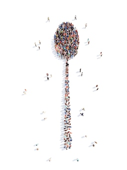 Grote groep mensen in de vorm van een lepelchef-kok geïsoleerde witte achtergrond