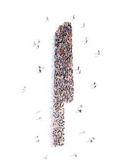 Grote groep mensen in de vorm van een mes geïsoleerde witte achtergrond