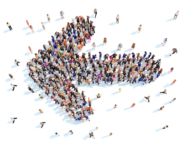 Grote groep mensen in de vorm van pijlen