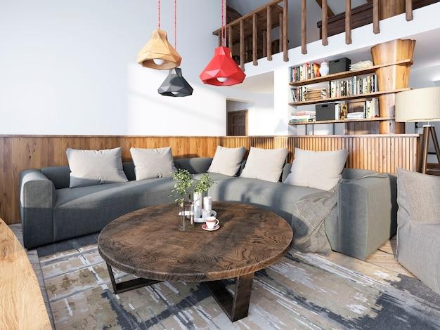 Grote hoekbank in de woonkamer in luxe loftstijl met houten lambrisering