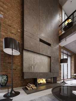 Grote hoge betonnen schouw met ingebouwde vuurhaard met brandend vuur. twee zwarte vloerlampen. 3d-rendering.