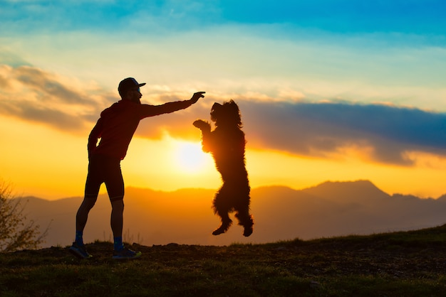 Grote hond die een koekje van een mensensilhouet springt met achtergrond bij kleurrijke zonsondergangbergen