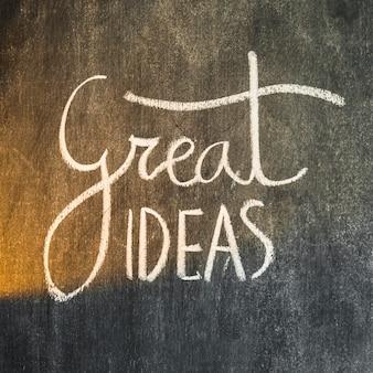 Grote ideeënentekst die met krijt op bord wordt geschreven