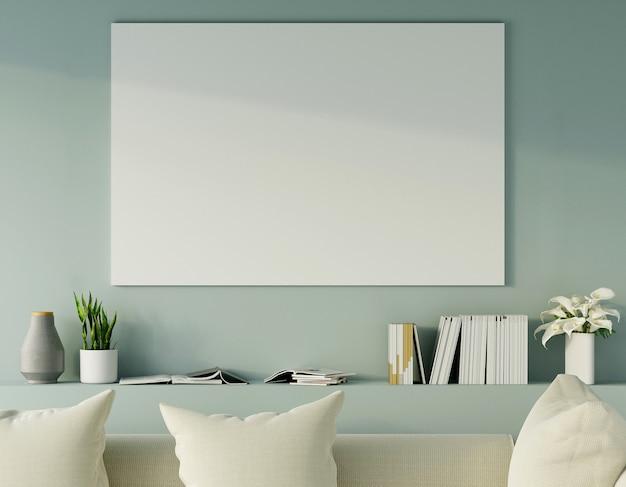 Grote lege fotolijst aan de muur met sofa en meubels in moderne lichtgroene woonkamer. 3d render.