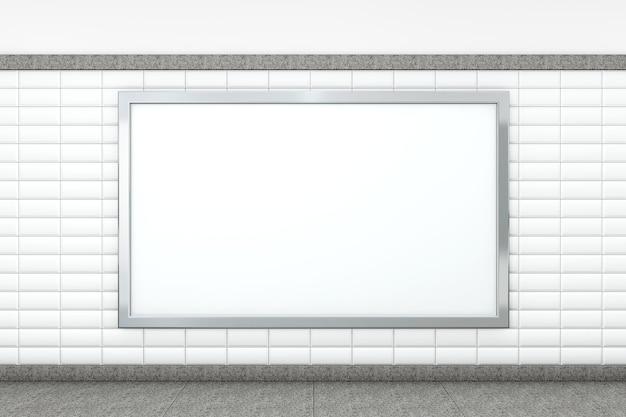 Grote lege horizontale poster op metrostation. 3d-rendering