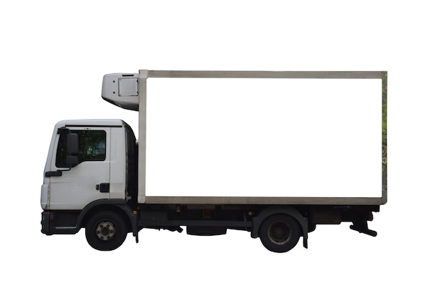 Grote lege witte advertentieruimte op een bestelwagenmodel. op witte uitknipachtergrond