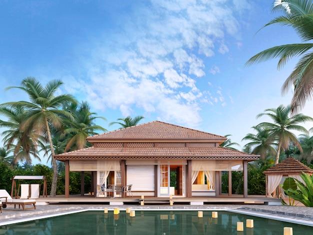 Grote luxe bungalows met zwembad