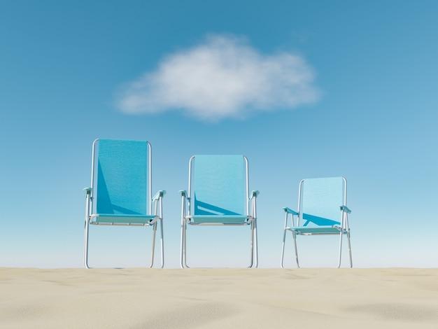 Grote, middelgrote en kleine buitenstoelen op het strandzand met een wolk erop. zomervakantie concept. 3d-rendering