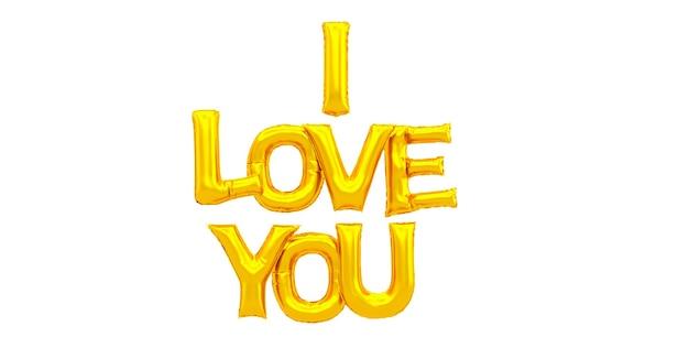Grote mooie gouden luchtballon met het woord ik hou van je, 3d render van ik hou van je woord