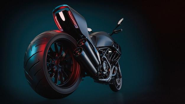 Grote motorfiets op zwart