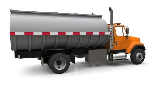 Grote oranje tankwagen met een gepolijste metalen aanhanger. uitzicht van alle kanten. 3d illustratie.
